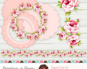 Digital Printable Clipart Romantic Roses.  For Personal and Small Commercial Use