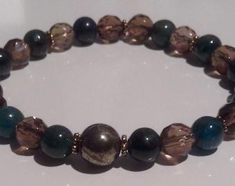 Smoky Quartz, Kyanite & Pyrite stretch bracelet