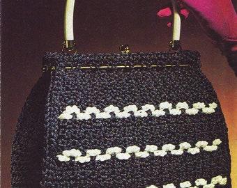 Crochet Mayfair Handbag with handles. Vintage Crochet PDF Pattern. Instant Download