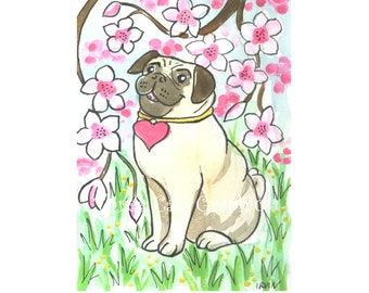 Hearted Pug with Cherry Blossoms - Choose from ACEO Print, Note Card with Stickers, or Art Print