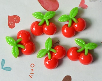 Yummy Cherry Resin Cabochons Crafts Flatback 21x20mm 20pc
