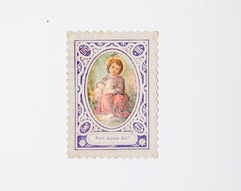 Lovely French antique religious prayer card in color, Ecce Agnus Dei !