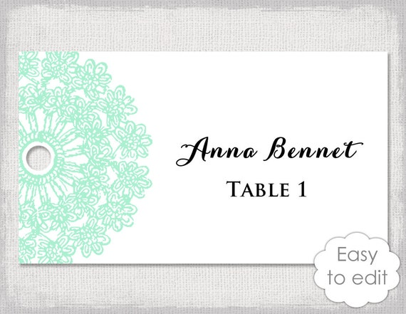 Name Tags Template Lace Doily Mint Green Wedding - Wedding name tag template