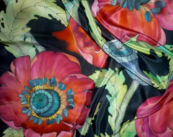 Silk handkerchief pattern on fabric batik, flowers poppies, natural silk 90-90 cm