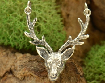 Sterling Silver, Realistic Stag, Stag Head Festoon, Stag Festoon, Silver Stag Head, Deer Charm, Deer Head Charm, Deer Festoon, Charm Link
