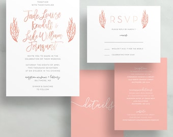 Simple Floral Watercolor Wedding Invites / Pink Coral Leaves Watercolor / Semi-Custom Wedding Invitation Suite / Print-at-Home Invitations