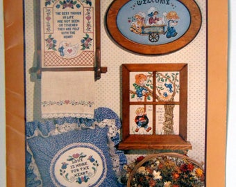 """Counted Cross Stitch """"Country Whittenburg"""" Stoney Creek Around House Samplers 1986"""