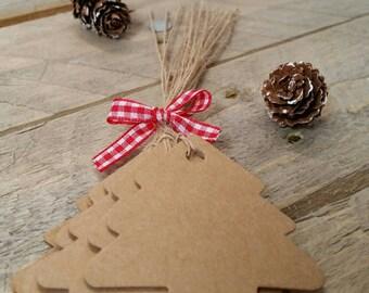 Set of 10 cardboard Christmas tree shape