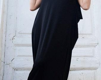 SALE Black Maxi Dress/Sleeveless Oversize Tunic/Loose Draped Dress/Plus Size Casual Dress/Sleeveless Black Kaftan/Comfortable Casual Tunic