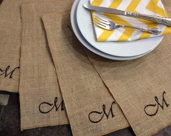 Burlap Personalized Embroidered Placemats - set of 4 - Wedding - Party - Holiday Thanksgiving Table Decor