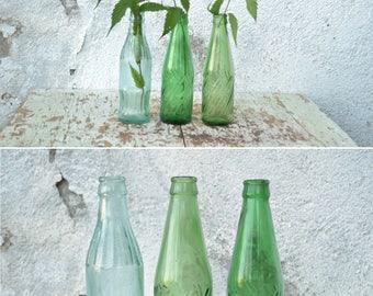 Vintage Juice Bottles, Instant Collection of Glass Bottles, Vintage Coke Bottles, Clear Glass Bottle, Green Glass Bottles, Set of 3 Bottles