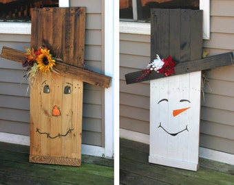 """Extra Large 42"""" Tall Reversible Wooden Fall Scarecrow / Winter Snowman Porch Decoration (Hand Painted)"""