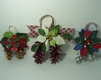 Choose 1, 2, or 3 @ 5.95 Each Holiday Gift Package Toppers Tree Ornaments Painted Pine Cone Door Knob Hanging Gold White Burgundy Spray Trim