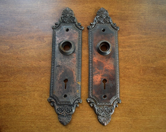 vintage pair of cast iron victorian door plates / antique pair of early 20th century escutcheons from ArchAntiquesShop on Etsy Studio & vintage pair of cast iron victorian door plates / antique pair of ...