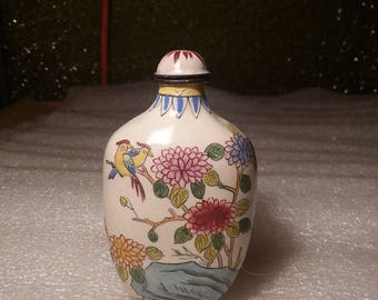 Vintage Hand Painted Cloisonne Nature Scenes Snuff Bottle