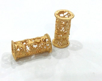 Flower Tube Gold Tube Gold Plated Brass 28x12 mm  G9456