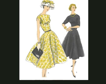 1950s 50s Reproduction E Pattern Vintage Sewing Pattern Full Flared Skirt Dress Bust 32 PDF INSTANT DOWNLOAD