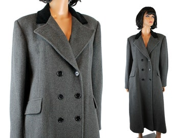 Vintage Trench Coat Sz 16 L XL Dark Gray Striped Wool Black Velvet Collar Karen Free US Shipping