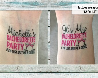 Bachelorette Party Temporary Tattoos Bachelorette Tattoos - If I'm Lost, Please Buy Me A Drink - Wedding Tattoo - Bachelorette Favor - Pink