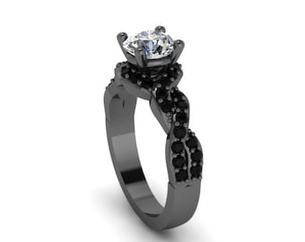 Unique Engagement Ring Black Gold Diamond Ring 14K Black Gold Anniversary Ring with 6.5mm Round Forever One Mioossanite Center - V1033