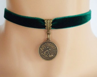 green velvet choker, aquarius choker, aquarius necklace, zodiac charm, antique bronze