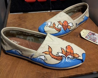Toms Shoes Customized Koi Fish with Japanese Waves