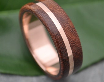 ROSE GOLD Wood Ring Solsticio Nacascolo - 14k rose gold, pink gold wood wedding band, wood wedding ring, wood ring with rose gold, wood band