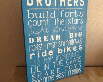 Brothers wall sign, brothers wall decor, wood room decor, kids wall art