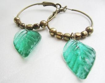 Emerald Leaves Handmade Brass Hoops OOAK Vintage Emerald Pressed Glass Leaves Bohemian Hoops RusticTribal Earrings Forest Fairy Brass Hoops
