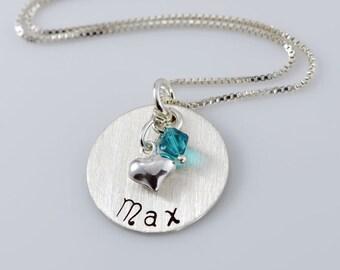 "Name Charm Keepsake Necklace - 3/4"" Hand Stamped Sterling Silver Disc, Swarovski Crystal, Heart Charm"