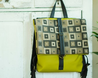 Eco leather backpack - Green rucksack - Women satchel - Leather rucksack - Vegan leather bag - Backpack purse - Yellow green folded backpack