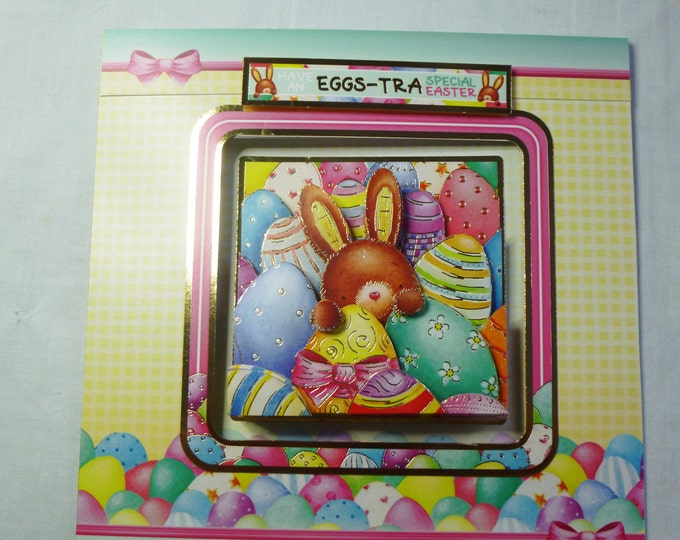 Easter Greeting Card, 3D Decoupage Rabbit, Aperture Card, Rabbit and Eggs, Male or Female, Any Age