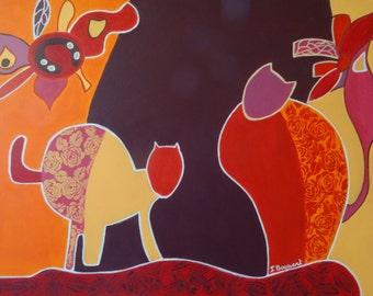 Cats, original acrylic painting