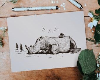 The Sleeping Rhino | Hand Drawn Fantasy Surreal Illustration | Rhinoceros Art Print | Wall Decor | Pen Ink Sketch