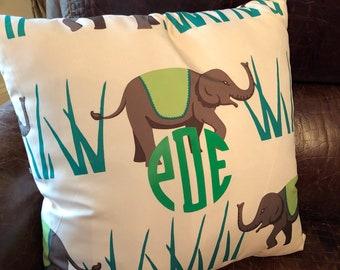 Elephant pillow-monogrammed pillow-elephant monogrammed pillow-personalized pillow- decorative pillow
