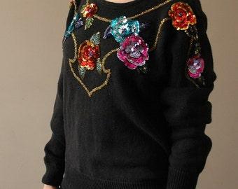 Vtg 80s Black Floral Sequin Beaded Glam Sweater S/m