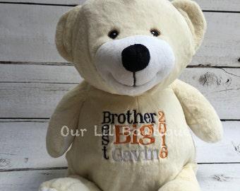 Personalized Stuffed Animal - Subway Art Baby Gift - Personalized Animal - Birth Announcement - New Baby -Personalized Baby Gift- Polar Bear