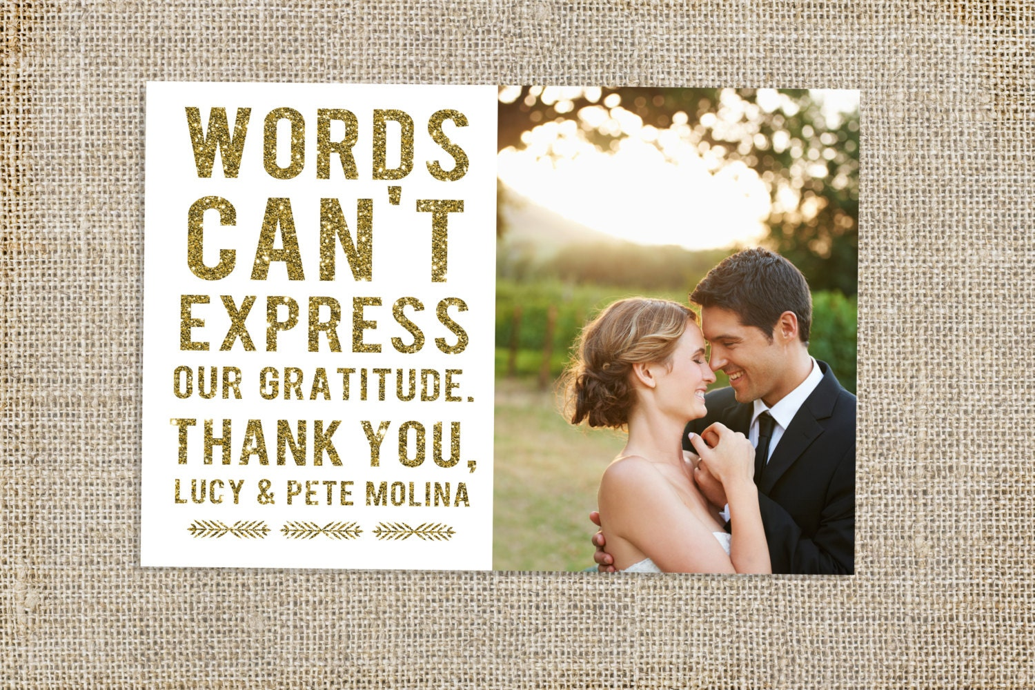 Glitter Wedding Thank You Card Design