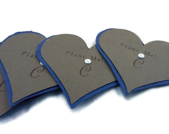 Personalized Navy Blue wildflower Seeded Paper Heart Favors - 3 inch - 50 count