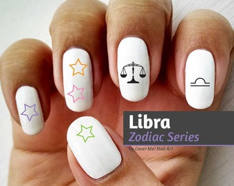 Libra Zodiac - Water Slide Nail Decals