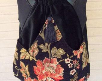 Black Backpack With Tangerine Flower in Chenille Boho Backpack  Tapestry Backpack  Flower Book Bag