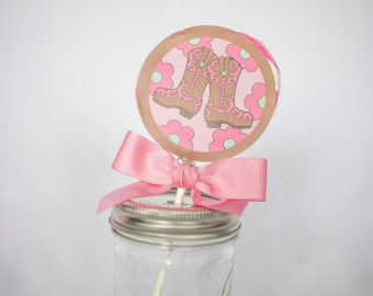 Cowgirl Whirly Pop. Party Favor. Lollipop.  Pink. Strawberry. Candy