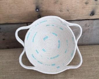 Pretty Little Rope Basket with unique handles and Aqua stitch detail