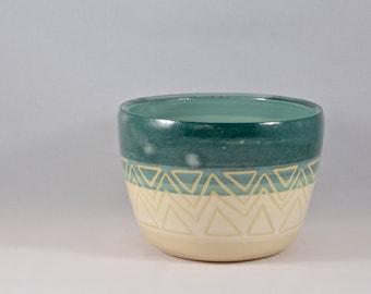 Geometric Design on a Small Ceramic Planter / Tumbler / Bowl