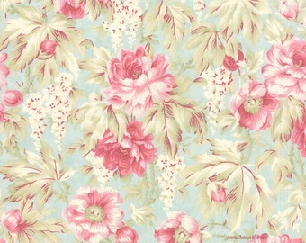 Shabby Floral Fabric, 3 Sisters Favorites, Moda 3768 14 Sea Glass, Cottage Chic Fabric, Pink Roses Fabric, Pink & Blue, Cotton Quilt Fabric
