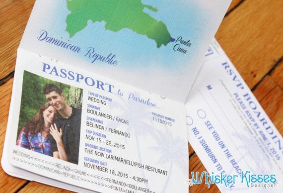 Jamaica Wedding Invitations: Passport Wedding Invitations Destination Travel Themed