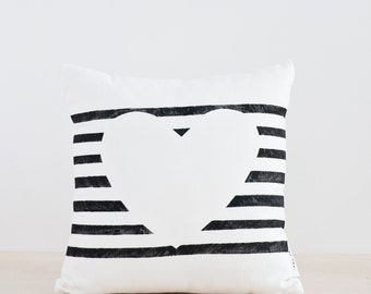Valentines Gift, Heart Pillow, Black and White Pillow Heart, Bed Pillow cases, Sofa Pillow Covers, Modern Minimalist, Gift for Her