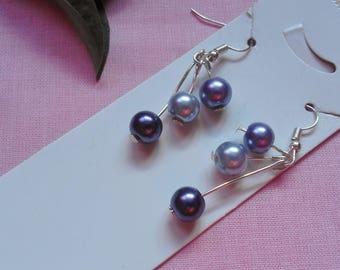 Purple Tree Drop Earrings