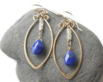 Gold Gemstone Dangle Earrings, Lapis Lazuli and Zircon