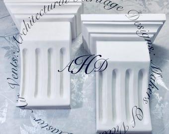 2 x Decorative Handmade Victorian Fluted Plaster Corbels
